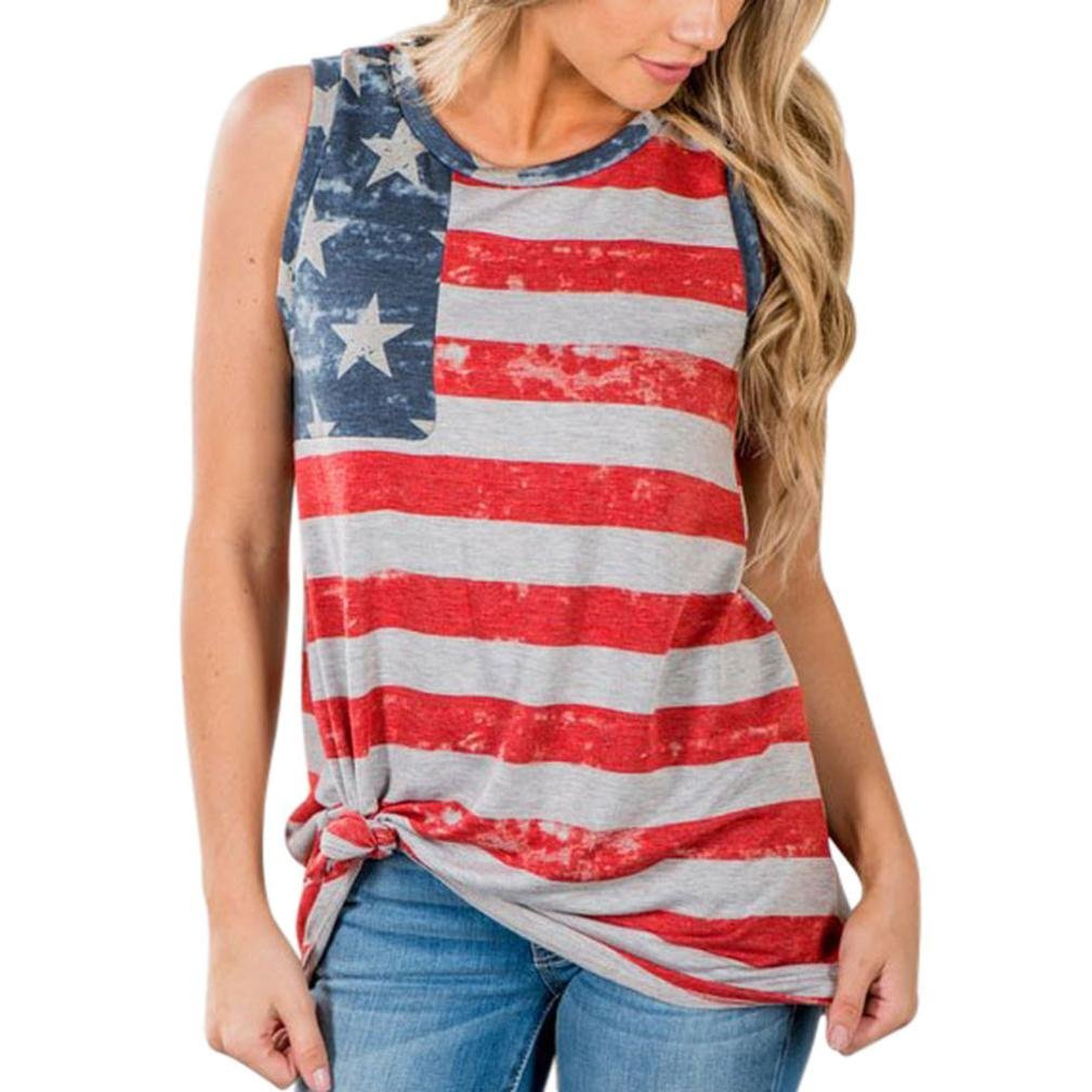 Casual Print American Flag Print Tank Tops,Clearance! AgrinTol Women Print American Flag Sleeveless Tops Vest Blouse (S, Multicolor)