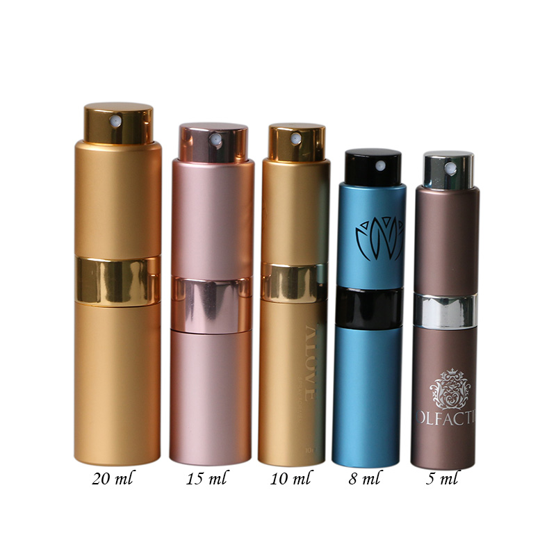 Empty 15ml metal twist up spray aluminum perfume atomizer