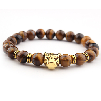 Leopard Punk Genuine Wrap Leather Bracelets Men Women Onyx Lava Hemae Jewelry Accessories Whole Diy Stone Beads Bangles Emoji