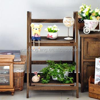 Antique Brown Indoor Plants Shelf Plant Rack Flower