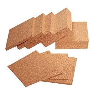 3X3 Inch Cork Samples 1 IN, 1/2 IN,1/4 IN, 1/8 IN, 1/16 IN, 3/4 IN, 3/8 IN, 3/16 IN, 3/32 IN