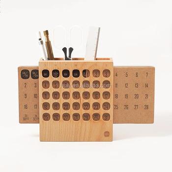 Office School Supplies Use Desktop Wooden Calendar Stand With