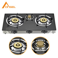 Wholesale Indian Style Gas Range,Indoor Portable Triple 3 Burner Tempered Glass Gas Cookers Stove Price