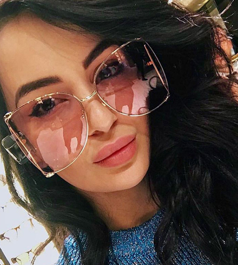 Metal oversize transparent sunglasses women half rimless big pearl glasses luxury band design new fashion sun shades wholesale