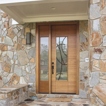 Us Villa Main Entry Wood Door Modern Design Sidelight