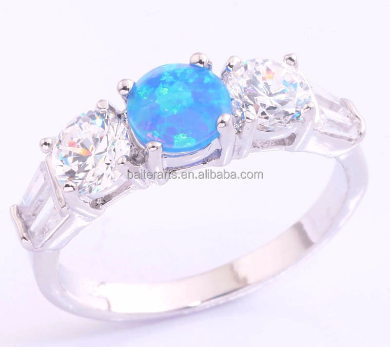 New 925 Sterling Silver Fire Opal Zirconia Engagement Rings Jewelry Wholesale