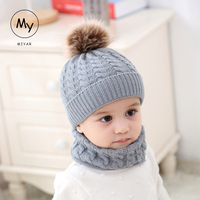 2Pcs Toddler Baby Winter Warm Fur Ball Hats O Ring Scarves Kids Knitted Beanie Cap and scarf Girls Boys Cap and Scarf Set