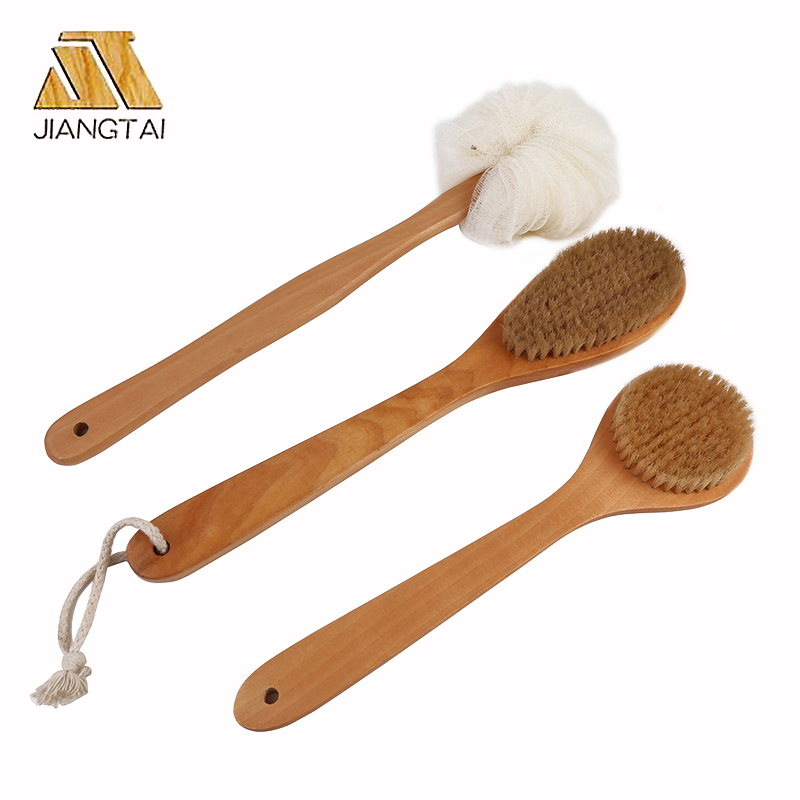 OEM Long handle wood body bath brush bath sponge brush