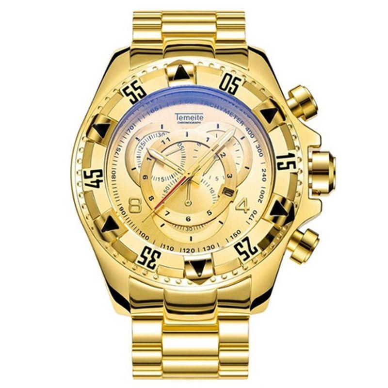 Relogio Mens Watches Luxury Top Brand Big Dial Quartz Watch Men Temeite Stainless Steel Gold Men's Wristwatches Calendar Male