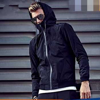 Guangzhou factory waterproof pure jacket long Sleeve With Hood Rain Waterproof Wind Breakers Jacket for men