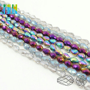 A5500-4# New Design Plate Color 48 Factes Drilled Teardrop Crystal Shaped Glass Beads