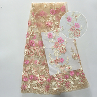 Custom Embroidery 3D flower Lace Nylon Gold Metallic Mesh lace Fabric