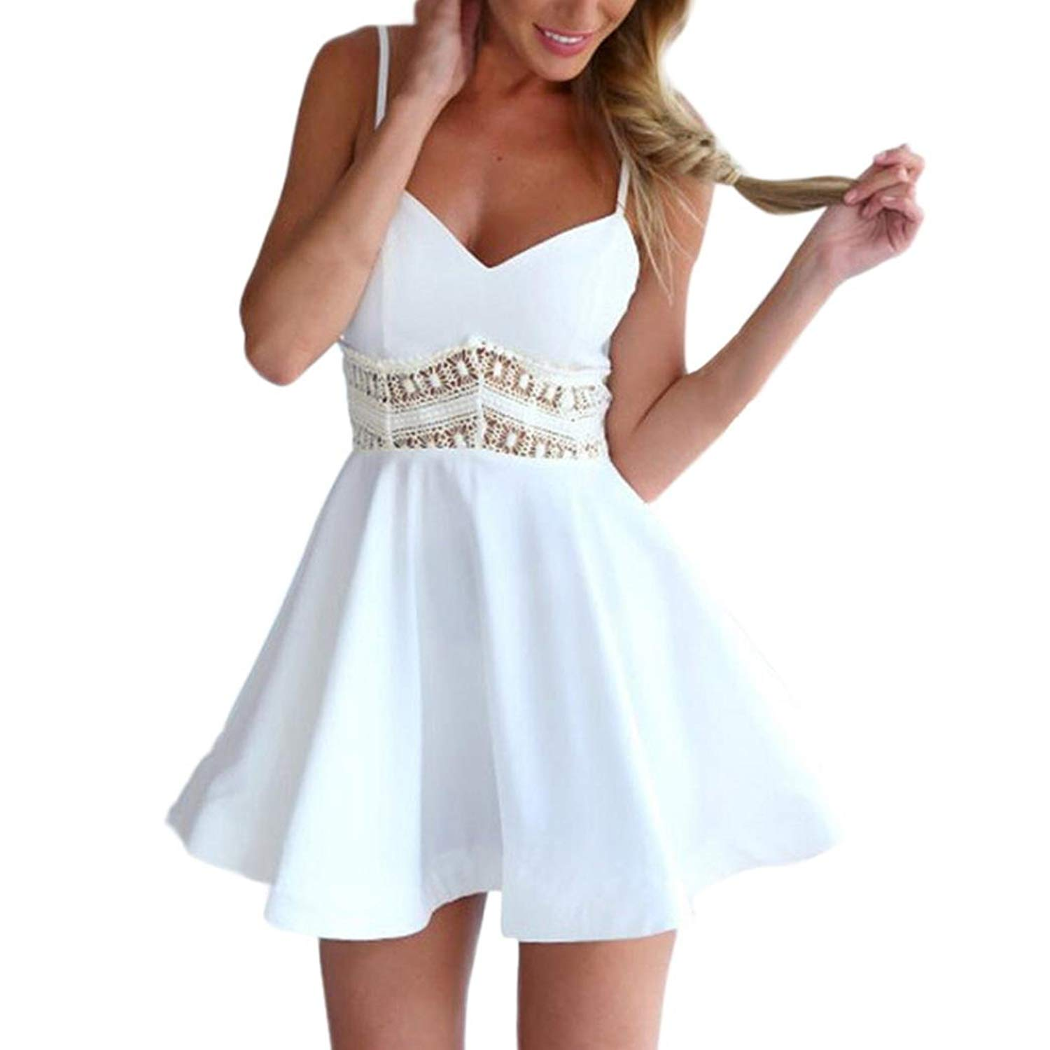 Mini Dress,Women Summer Sleeveless Lace V Neck Sexy Hollowed Dress Ladies Dress