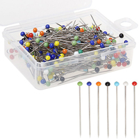 100pcs Sewing Pins 38mm Multicolor Glass Ball Head Pins Straight Quilting for Dressmaking Jewelry Components Flower Decoration