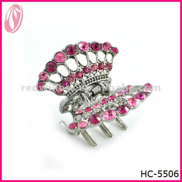 New Designed Glitter Metal Diamante Butterfly Claw Jaw Hair Clips