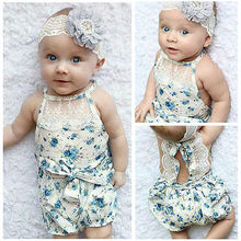 Newborn Baby Girl Bodysuit Lace Floral Romper Jumpsuit Outfits Backless Clothes Toddler Girl Clothes Summer 2016
