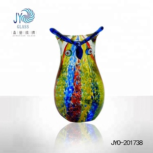 Decorative colored glass owl sculpture by handmade