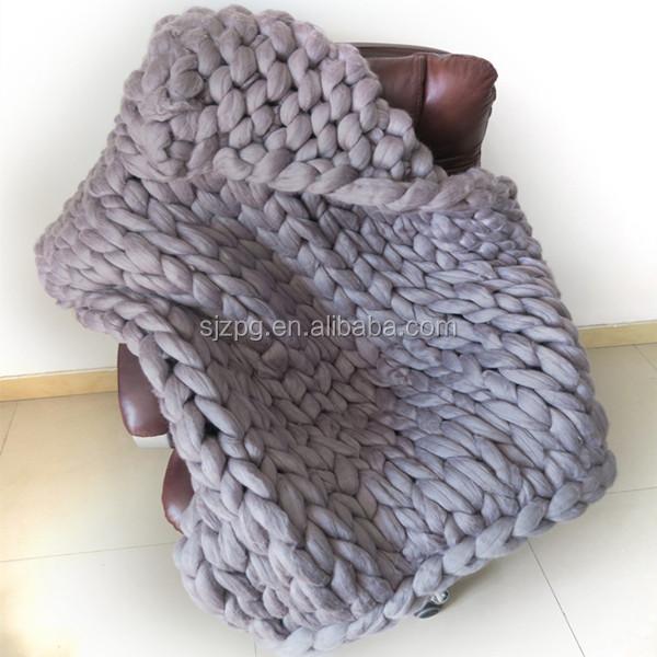 Crochet Super grueso voluminosos manta de lana merino-Sábana de ...