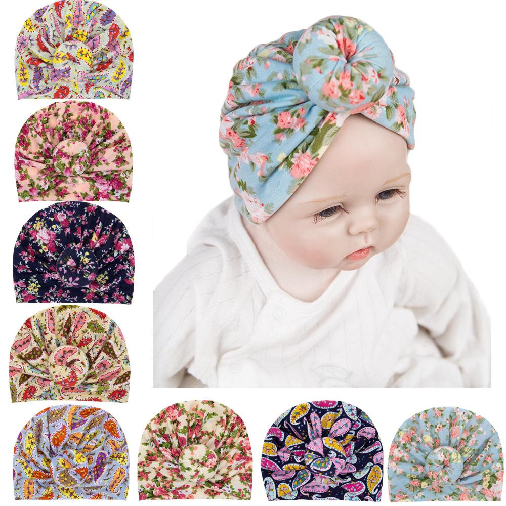 bb1cea266542a 2019 Enfants Accessoires fleur Chapeaux Enfant En Bas Âge Bébé Fille Turban  Coton Fleur Chapeaux Noeud ...