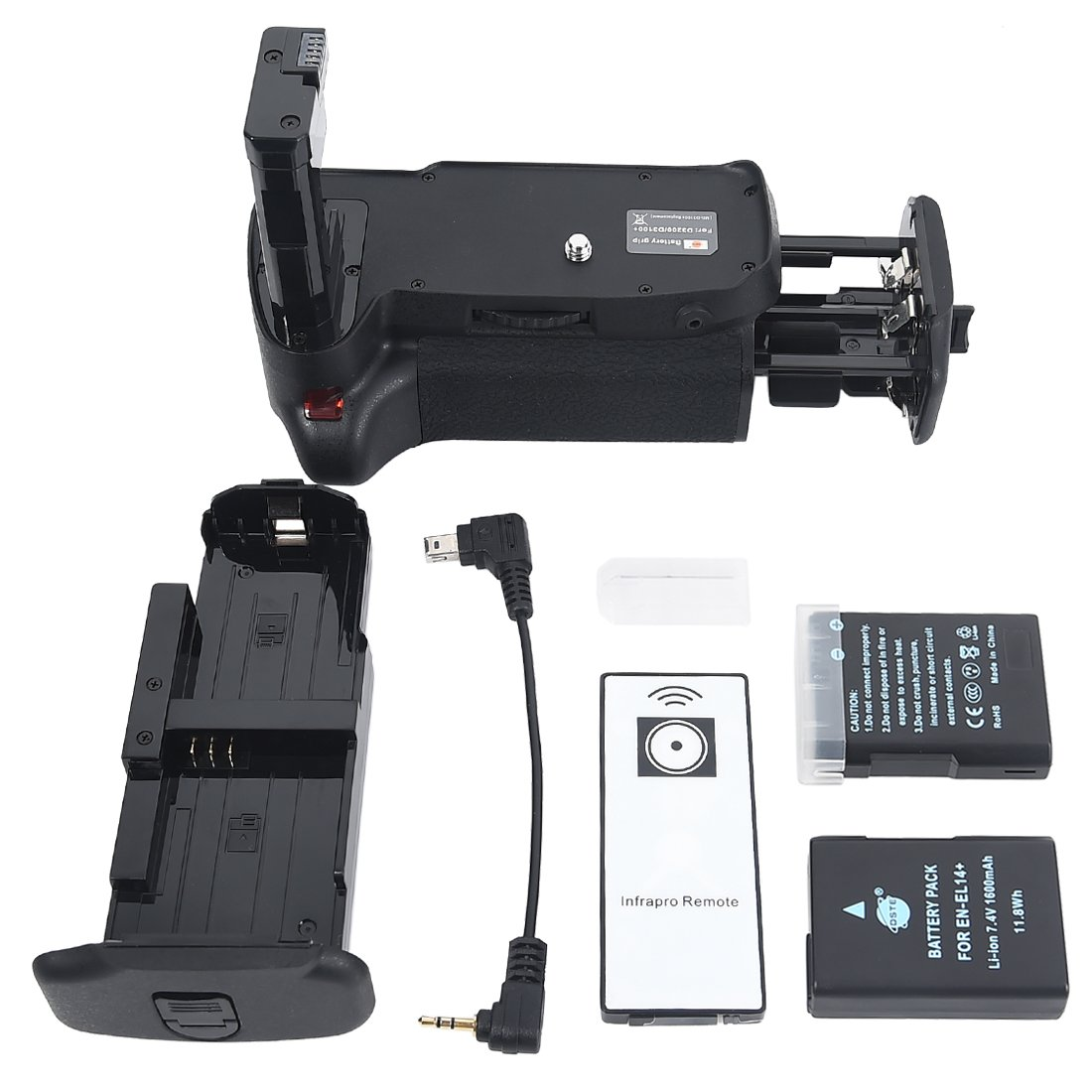 DSTE Pro IR Remote MB-D31 Vertical Battery Grip + 2x EN-EL14 EN-EL14A for Nikon D3100 D3200 D3300 D5300 SLR Digital Camera