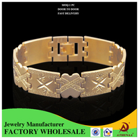 Europe Style Copper Wide Chain Bracelet Men 18k Gold Ally Express Wholesale Bracelet