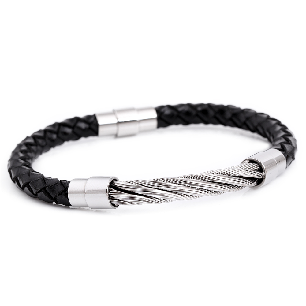 Wholesale Hand-made Braided Leather And Stainless Steel Wire Bracelet For Men