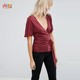 Images of Ladies Soft Jersey Casual Tunic Top with Kimono Sleeve and Tie Front and Jean Photos HSt7452