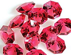 Package of 36-Rose Pink 25 Carat Acrylic Diamonds For Weddings, Parties and More