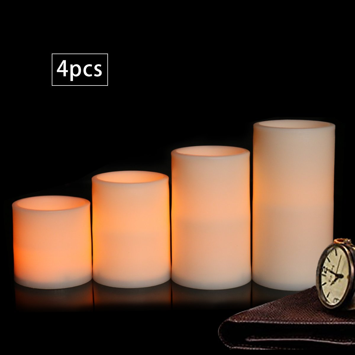"""Youngerbaby Flameless Candles Set of 4 Dripless Plastic LED Pillars Candles Battery Operated for Parties and Decorations-3 AAABatteries Not Included,2.8"""" 3.8"""" 4.8"""" 5.8"""""""