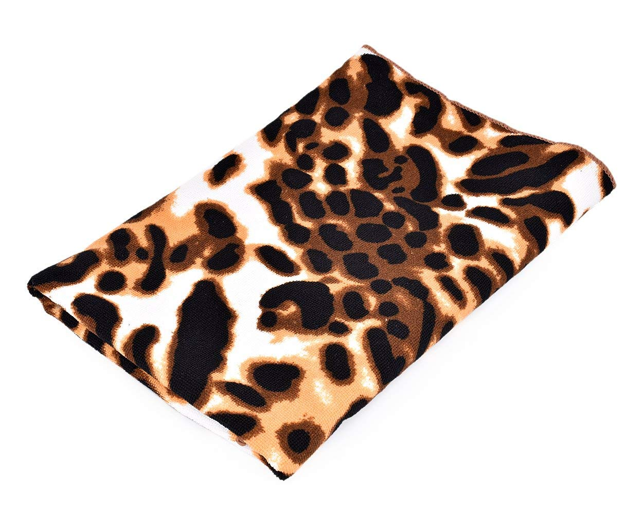2fb3f2850d4a Get Quotations · Ace Select Extra Large Bath Towel Chic Leopard Print  Extra-absorbent Microfiber Soft Travel