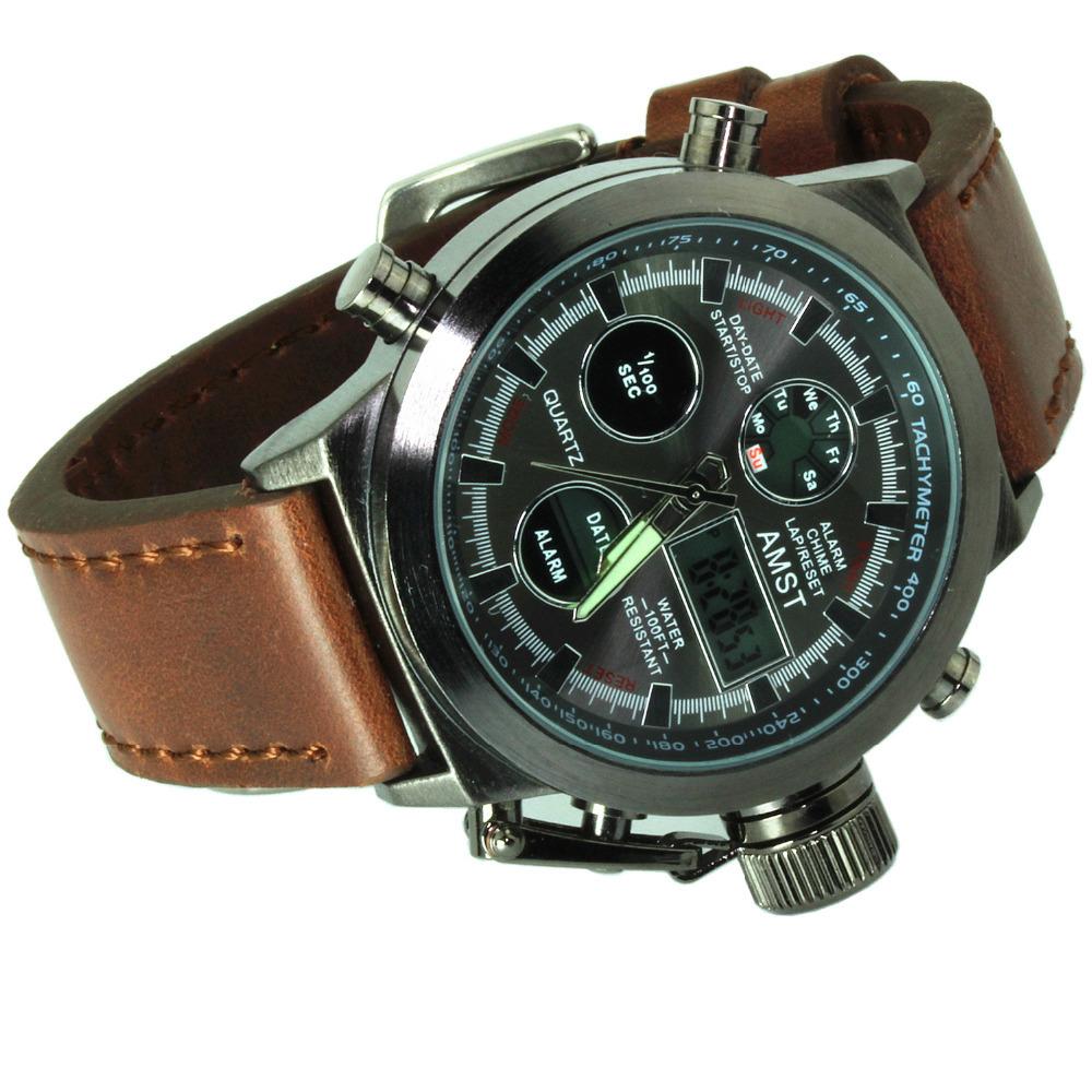 Уникальный моде мужчин цифровой кварцевые открытый спортивные часы Relogio Masculino часы с ручной кожаный ремешок