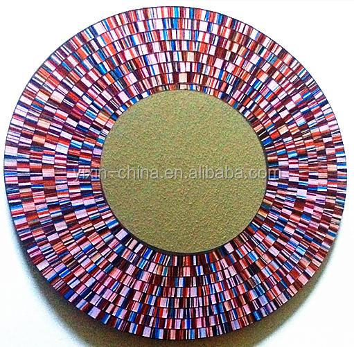 Rouge mosa que cadre mdf rond fait main accent mur miroir for Miroir rond mosaique