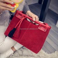 red color tassel luxury ladies leather hand bags