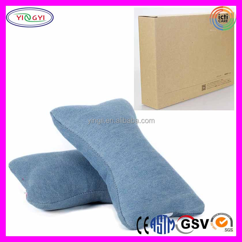 E352 Car Neck Pillow Automotive Head Neck Rest Cushion Vacuum Packing Denim Chair Head Pillow