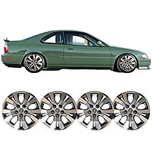 Wheel Covers Fits Universal 14 Inch Hub Caps Hubcap Wheel Cover Rim Skin Covers Black Chrome 4PC by IKON MOTORSPORTS
