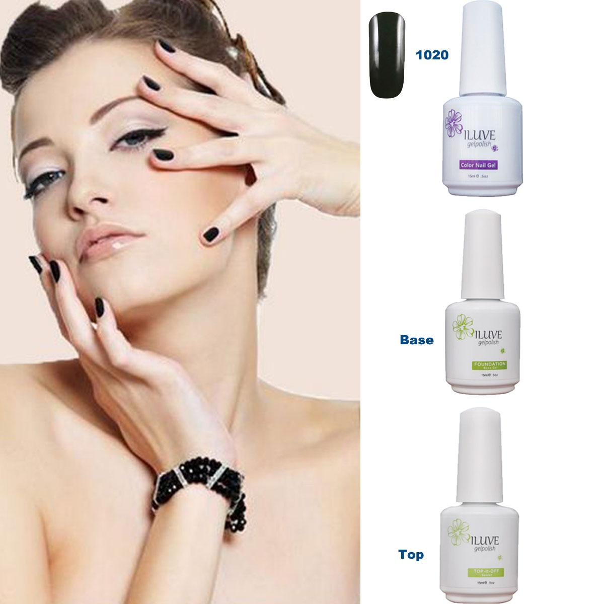 3 packs iLuve Professional Black Nail Gel Polish UV LED Lamps Gel 15ml Base Top Coat
