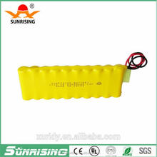 Sunrising battery AA 600mah 12v nicd battery pack /12V emergency battery /12v rechargeable battery