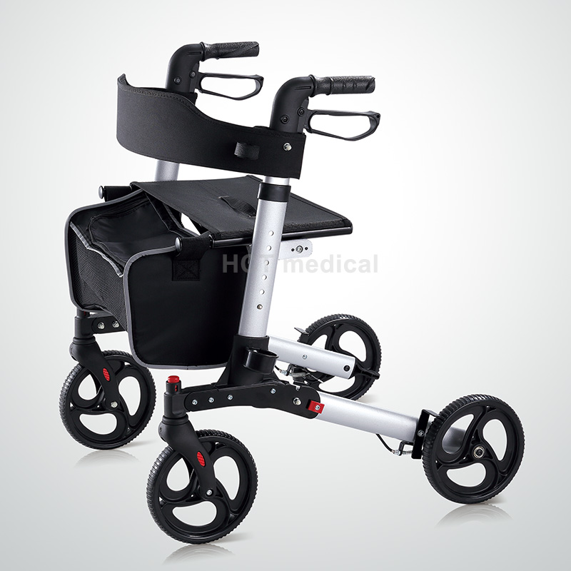Folding Rollator Walker - 4 Wheel Medical Rolling Walker with Seat & Bag - Mobility Aid for Adult, Senior, Elderly & Handicap -