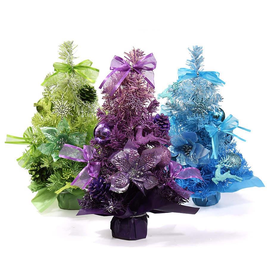 2 colors 2015 new 11 tabletop artifical table top pine christmas tree green blue mini - Small Purple Christmas Tree
