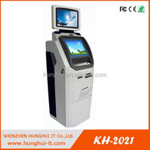 HungHui New Design dual touch screen self service kiosk with print ticket and bill payment
