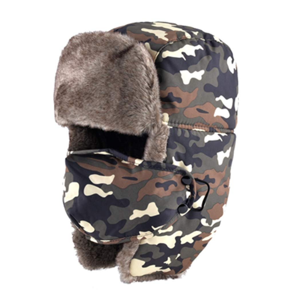Winter Camouflage Trooper Hat for Men Winter Bomber Hats Thicker Earmuffs Masks Hat
