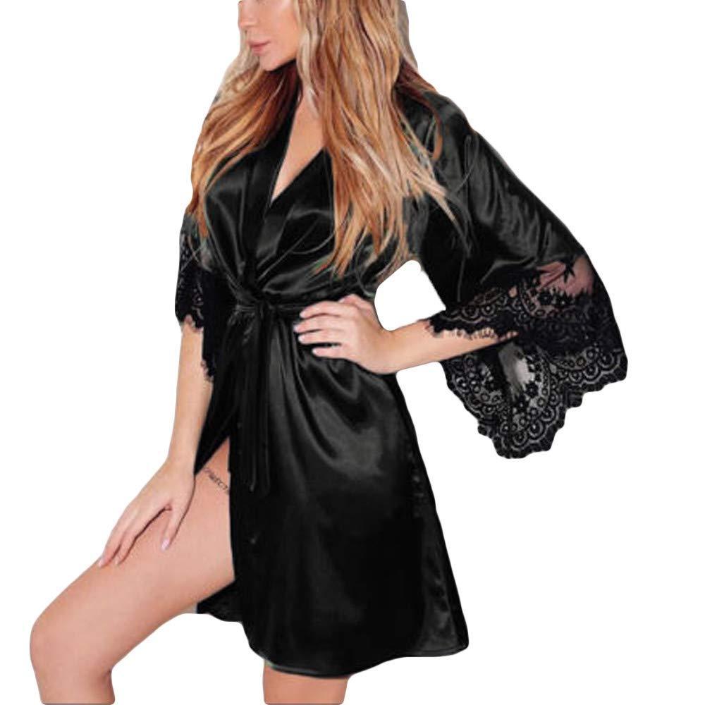 Cealu Clearance!! Women Sexy Silk Kimono Dresses Babydoll Lace Bath Satin Robe Lingerie Belt Sleep Nightgown Party Nightwear