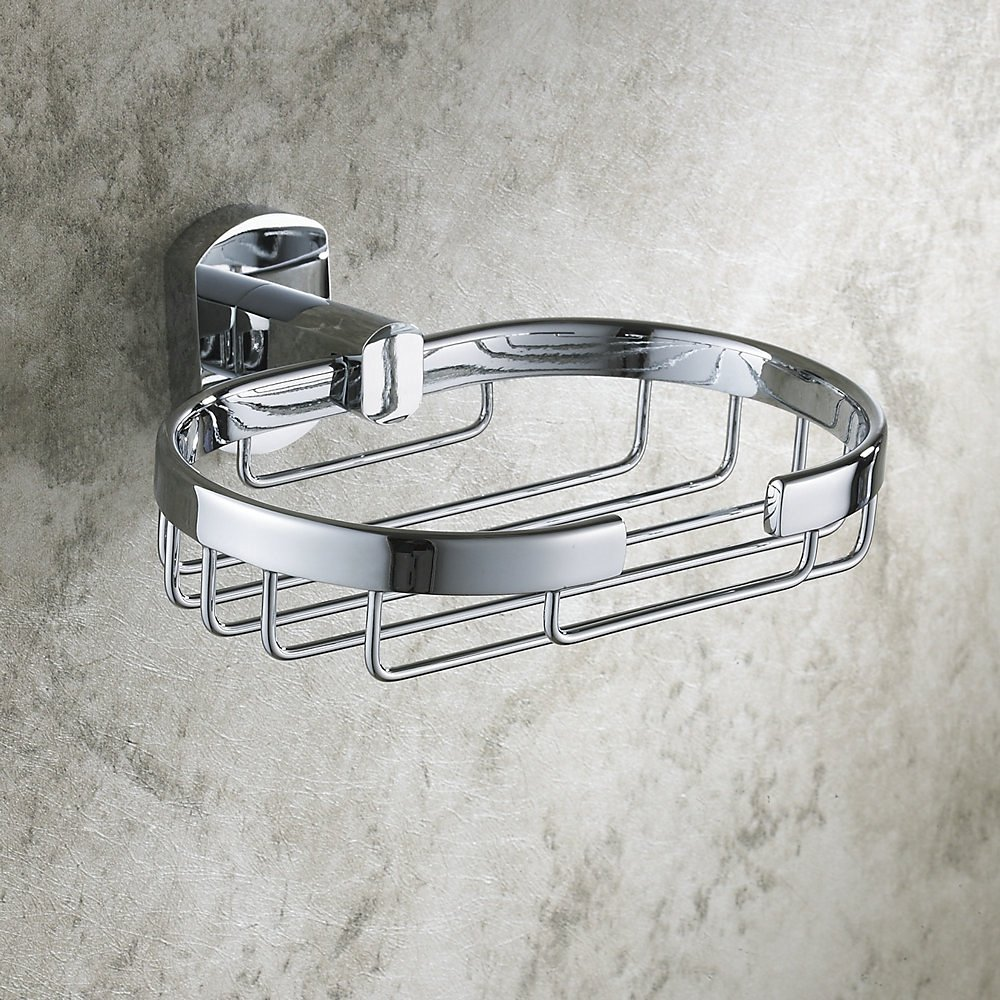 Hiendure® Bathroom Wall Mounted Brass Soap Dishes Soap Holder, Chrome Finished