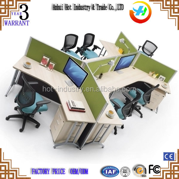 Office Furniture in Malaysia Easy Assembly Knock Down 120 Degree Office Workstation For 6 Person