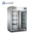 FURNOTEL Commercial Kitchen Stainless Steel Under Counter Refrigerator 2 Glass Door Fridge FRUC-7-1
