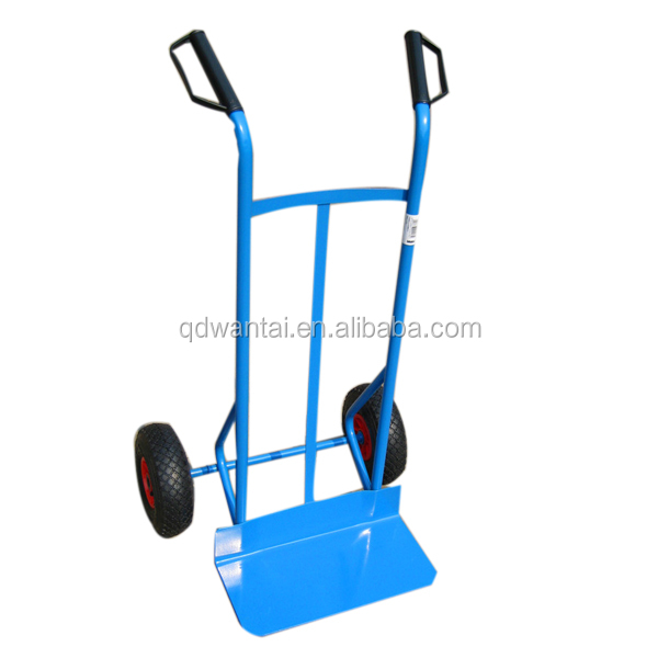 Qingdao wantai two pneumatic rubber wheel hand pull trolley with CE certificate