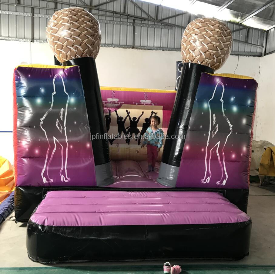 2019 girls birthday gift pink color inflatable bounce castle with candle for sale