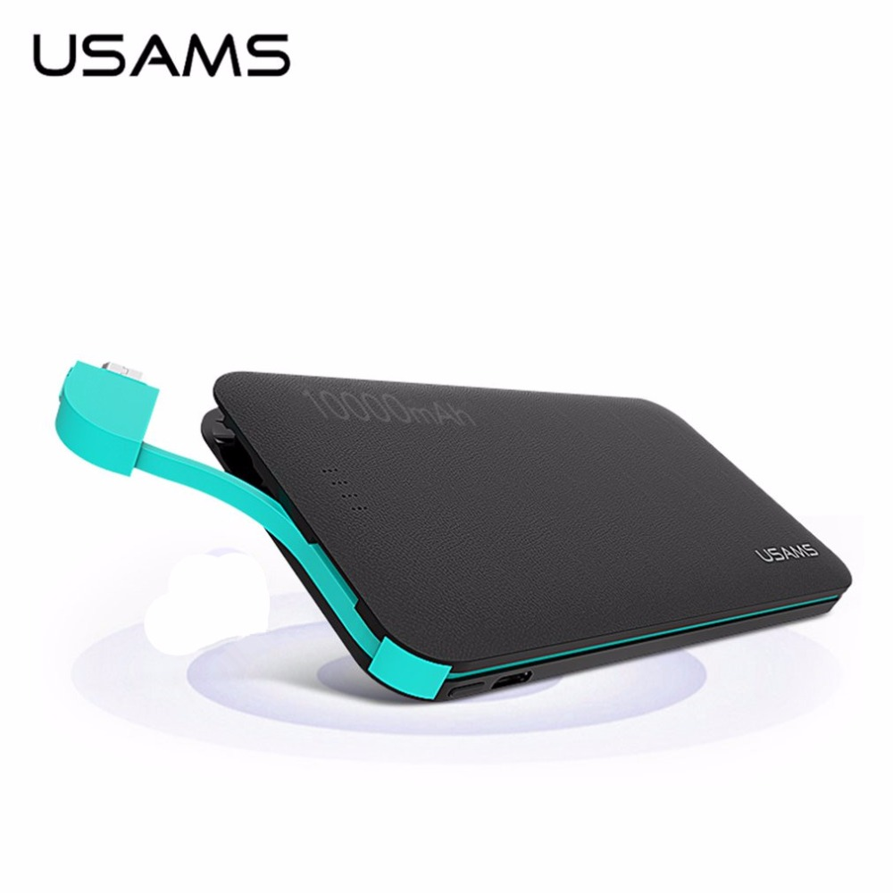 USAMS 10000mAh Portable Power Bank US CD05 Leather <strong>Grain</strong> Universal for Digital Devices USB Cable Powerbank compact in one