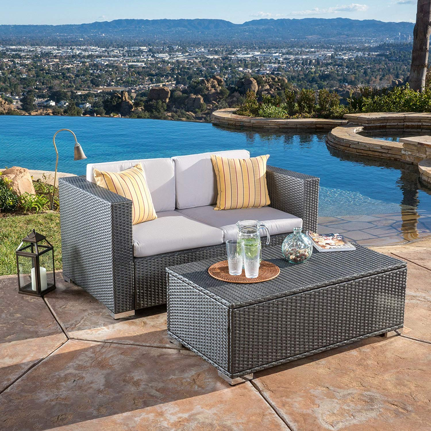2 Piece Patio Sofa Set, Coffee Table with Smart Storage Inside, Durable, All-Weather Silver Gray Wicker, Polished Aluminum Leg Caps, Shelter Style Arms, Weather-Resistant Gray Cushions + Expert Guide