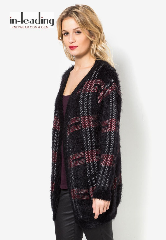 Fuzzy plaid cardigan sweaters Women wear